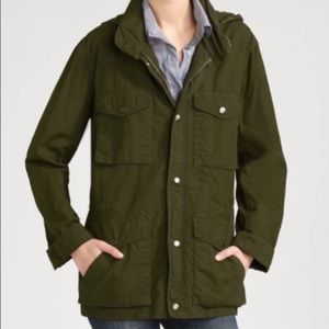 Vince Army Green Hooded Utility Jacket Large